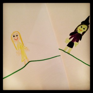 My six-year-old daughter's drawing of Glinda and Elphaba from Wicked.