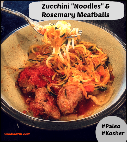 zucchini noodles and rosemary meatballs