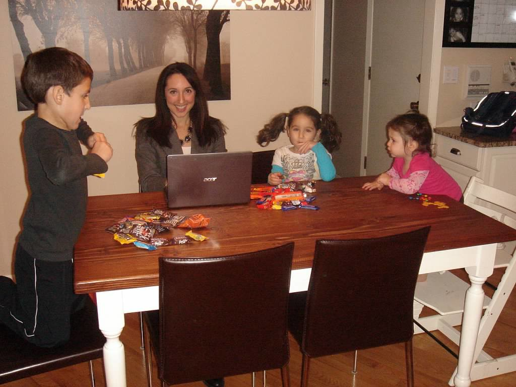 Found this picture on Shutterfly from the day in November 2010 when my blog first went live. (Not sure why my kids have so much candy on the table. I had one less baby and many less wrinkles around my eyes.)